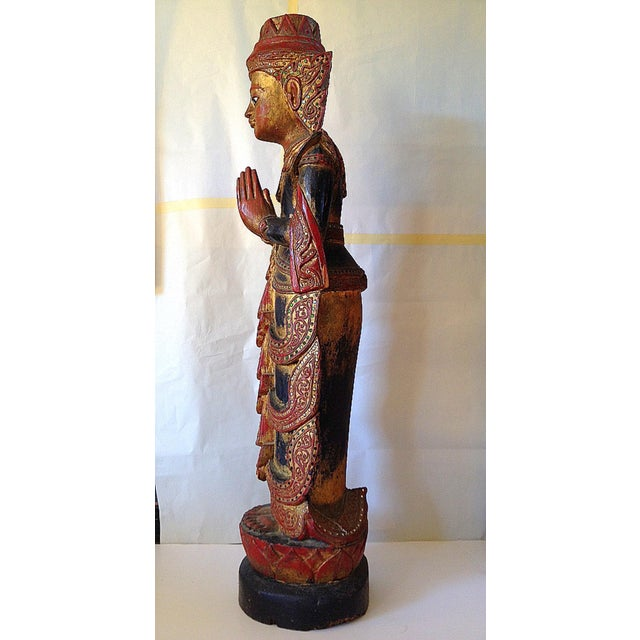 Large Wooden Thai Figure - Image 4 of 10
