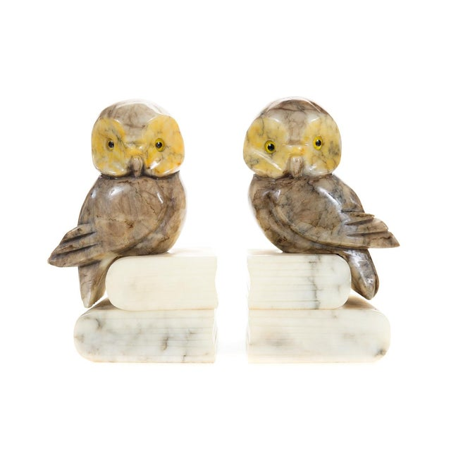 Vintage Alabaster Owl Bookends- A Pair - Image 1 of 9