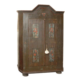 Baroque Painted Swiss Marriage Armoire