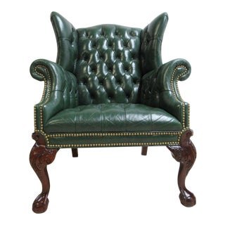 Vintage Chesterfield Style Tufted Ball & Claw Chippendale Wingback Chair