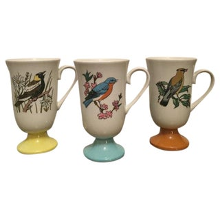 Vintage Japanese Santei Bird Mugs - Set of 3