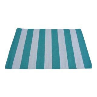 "Surya 100% Wool Rug, Green and Cream Nautical Stripe - 3'6"" x 6'"