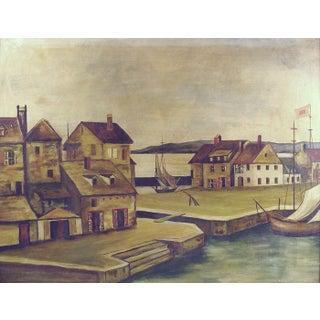 1930's European Harbor Oil on Masonite Painting