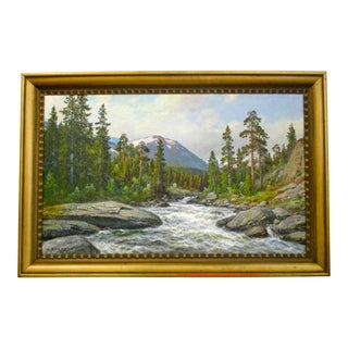 """Rygaard """"River Through the Trees"""" Oil Painting"""