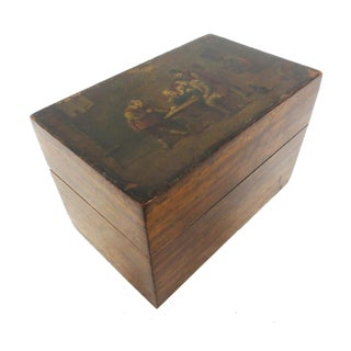 Vintage Decoupage Pub Scene Wooden Card Box