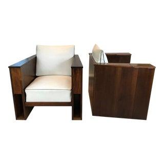 Art Deco Mahogany Club Chairs - A Pair