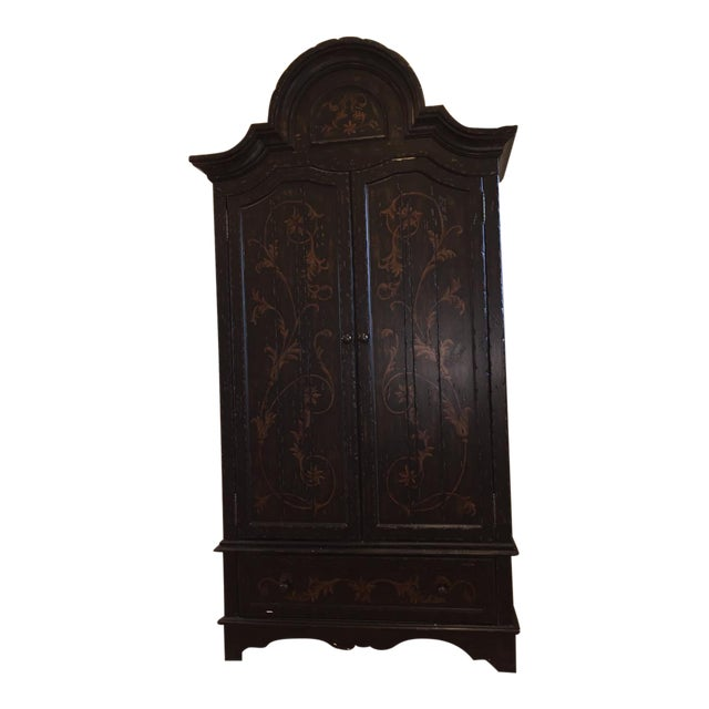 Wooden Floral Decorated Armoire With Custom Trim - Image 1 of 8