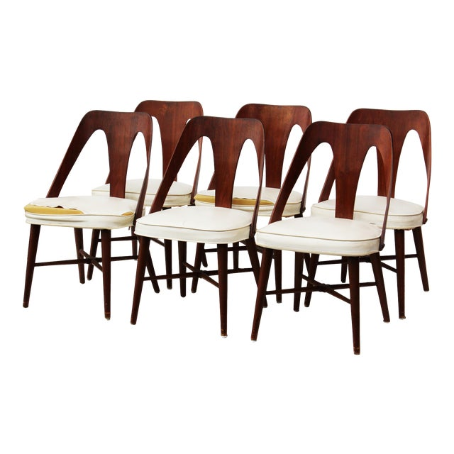 Mid Century Walnut Dining Chairs by Lawrence Peabody for Richard Nemschoff - Set of 6 - Image 1 of 6