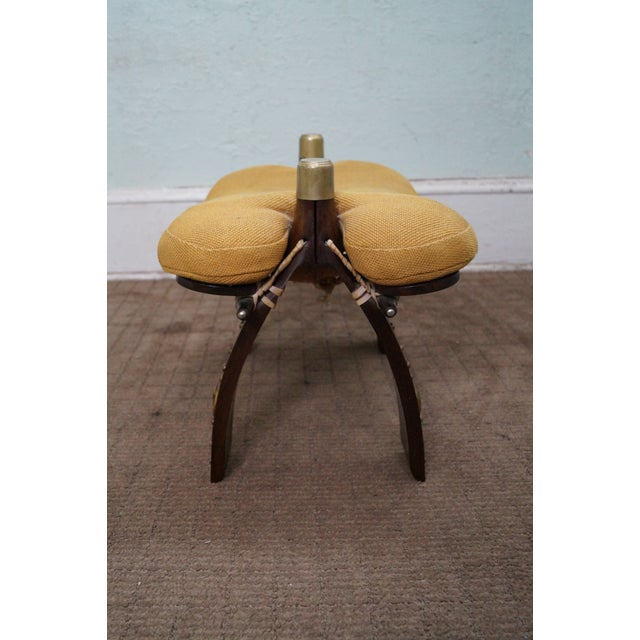 Image of Vintage Camel Saddle Foot Stool Ottoman