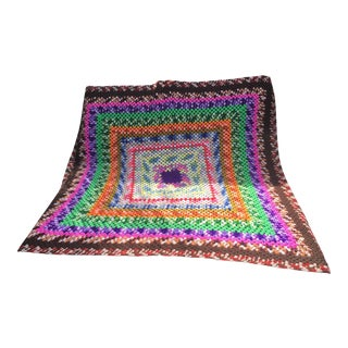 Vintage Boho Afghan Hand-Knit Throw