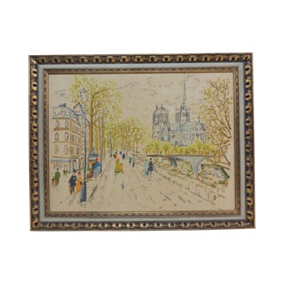 Vintage Embroidered Tapestry of Paris Street Scene