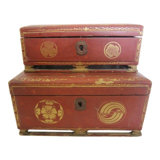Japanese Lacquer Boxes - A Pair