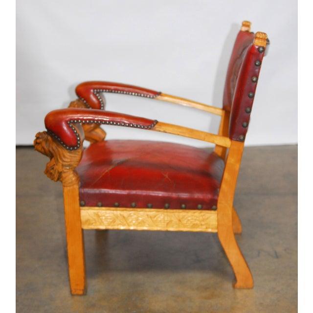 Norwegian Folk Art Leather Armchairs - Set of 4 - Image 7 of 10