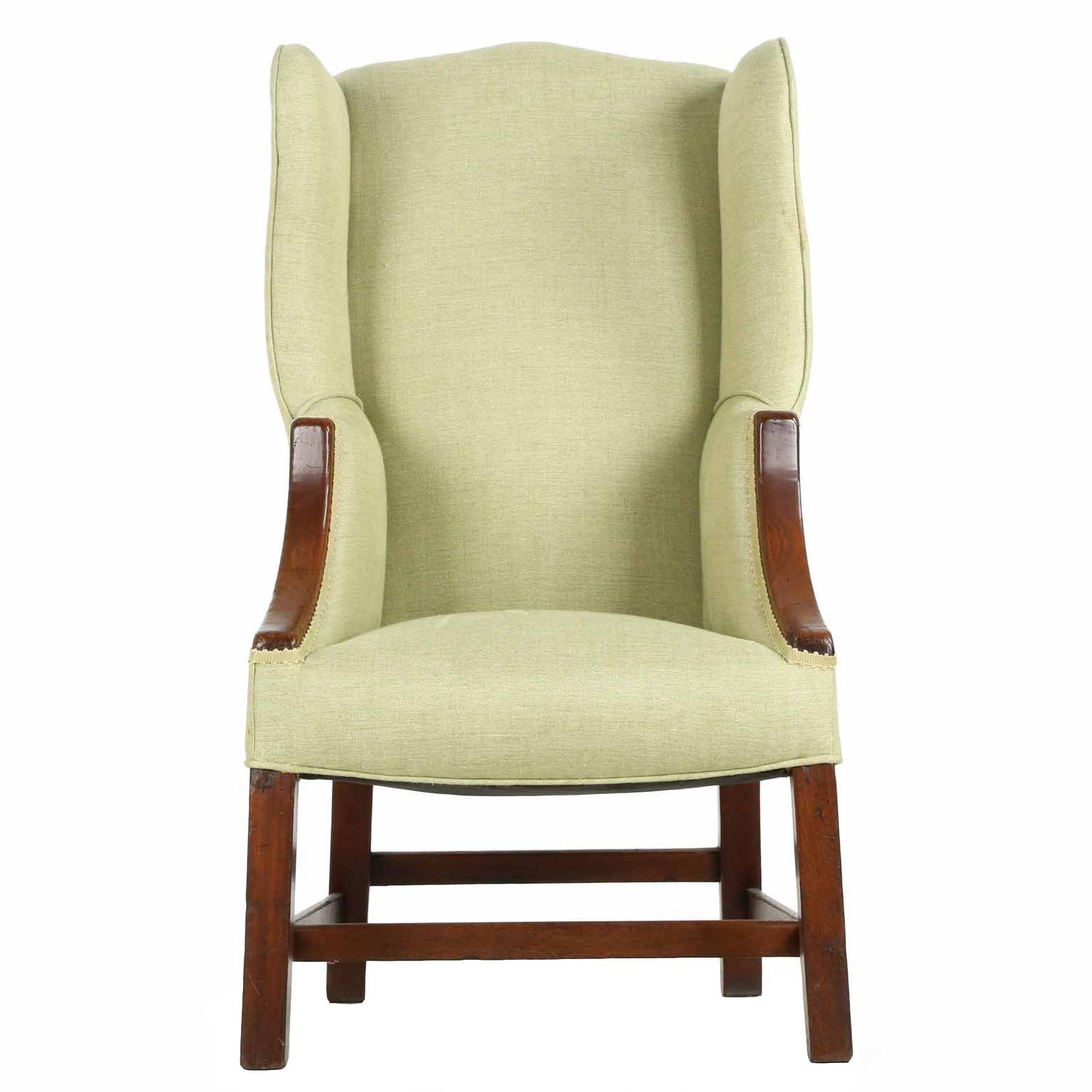 19th century antique english george iii diminutive wingback arm chair