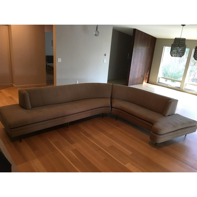 Mid-Century Linen Upholstered Two Piece Setional Sofa - Image 3 of 9