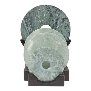 Collection of Jade Discs on Stands