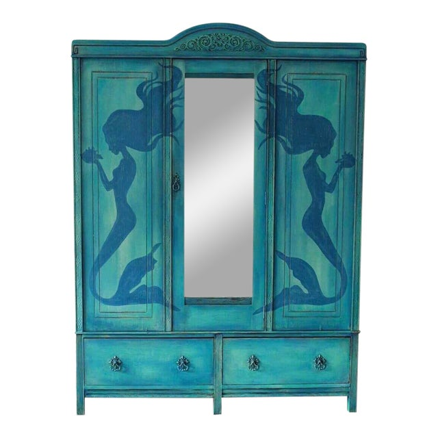 1920's Hand Painted Mermaid Armoire - Image 1 of 5