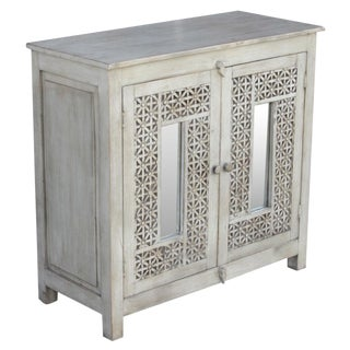Carved White Lattice Cabinet