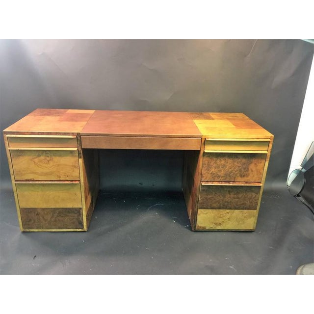 PAUL EVANS PATCHWORK BURLED WOOD AND LEATHER DESK - Image 2 of 10