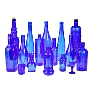Decorative Cobalt Blue Glass Bottles - Set of 16