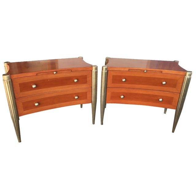 Art Deco Custom Cherry Nighstands - A Pair - Image 1 of 10