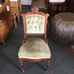 Image of Antique Green Velvet Accent Chair