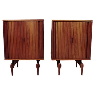 Tambour Door Nightstands with Atomic Legs - A Pair