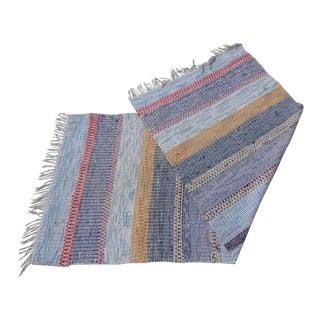 "Swedish Vintage Handwoven Rag Rug -- 3'3"" X 7'10"""