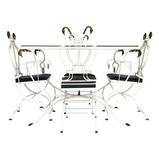 Wrought Iron & Brass Swan Head Dining Set
