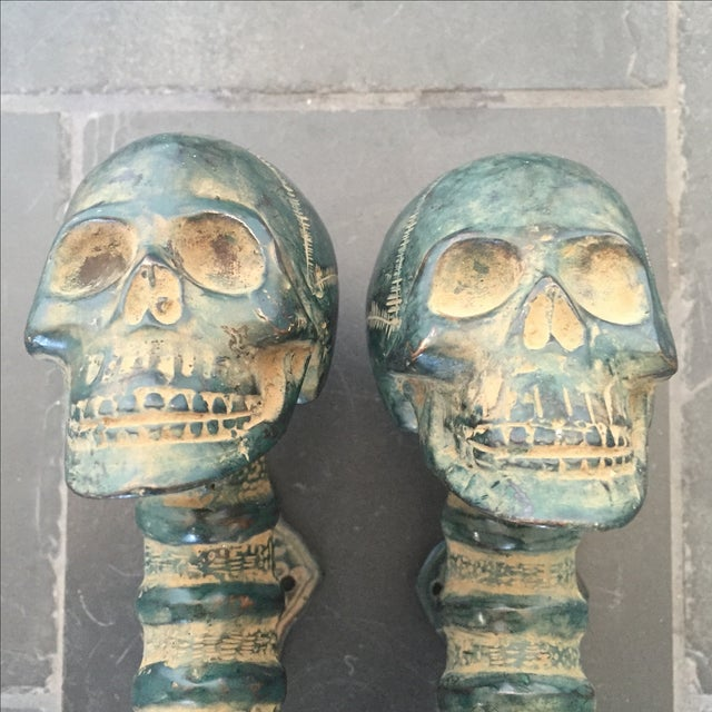 Image of Bronze Skull Door Handles - Set of 2