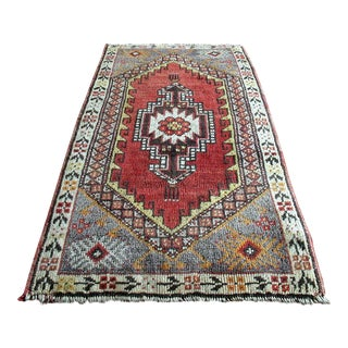 Vintage Turkish Oushak Hand-Knotted Wool Rug - 1' x 3'