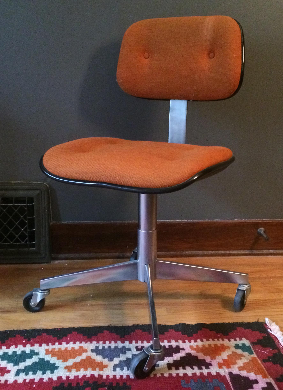 Vintage Steelcase Orange Wool Rolling Office Chair   Image 2 Of 8