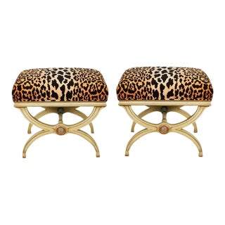 Hollywood Regency Leopard Print Velvet Benches - A Pair