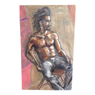 Pete Langway Oil Painting of Man Sitting