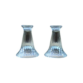 Modern Crystal Ribbed Candle Holders - Pair