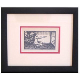 Framed Art Deco Woodblock Print of Exercise