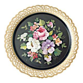 Vintage Nashco Lavender, Pink & Green Floral Tole Tray