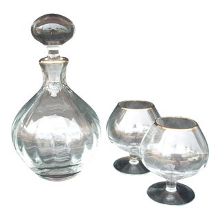 Block Crystal Brandy Service - 3 Pieces