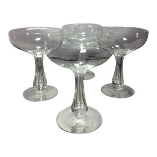 Vintage Hollow Stem Crystal Champagne Coupes - Set of 4