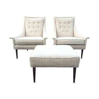 Mid-Century Lounge Chairs with Ottoman- A Pair