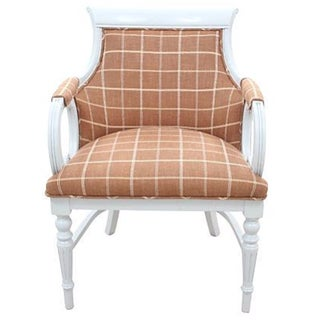 Plaid & Leather Empire Chair