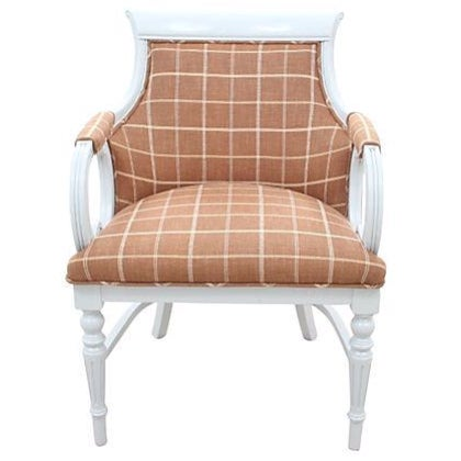Image of Plaid & Leather Empire Chair