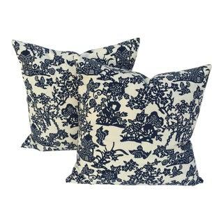 Blue & White Chinoiserie Pillows - A Pair