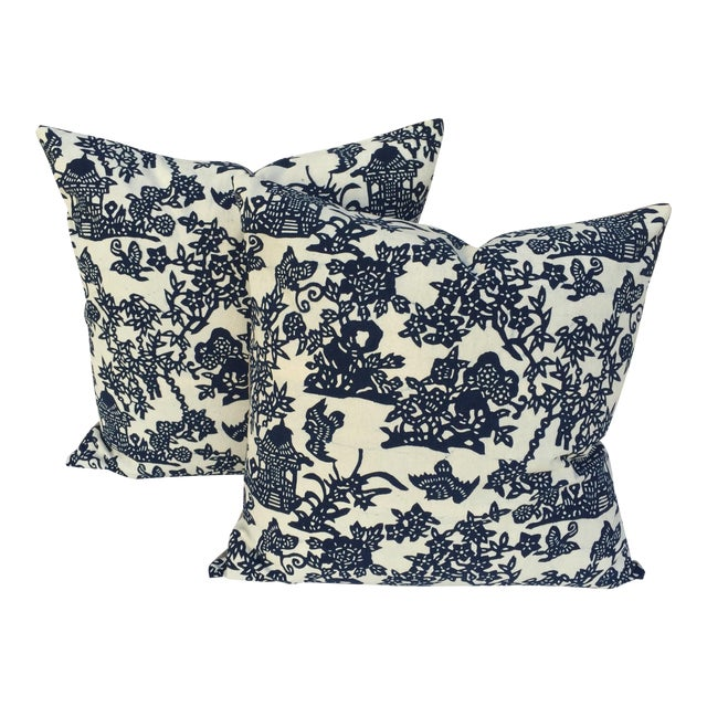 Blue & White Chinoiserie Pillows - A Pair - Image 1 of 9