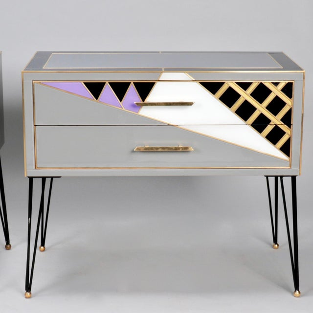Pair of Italian Two-Drawer Cabinets with Murano Glass and Brass Inlays - Image 2 of 11