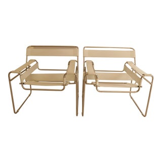 Wassily Style White Leather & Polished Chrome Chairs - A Pair