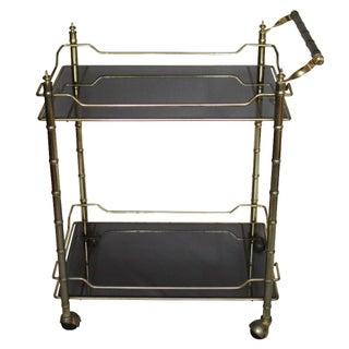 Brass Faux Bamboo Smoked Glass Bar Cart