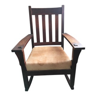 Vintage Solid Oak Rocking Chair