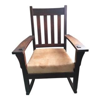 Vintage Solid Oak Rocking Chair