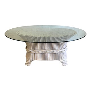 McGuire-Style Oval Sheaf of Wheat Rattan Glass Top Dining Table
